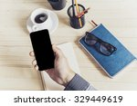 unrecognizable man using mobile ... | Shutterstock . vector #329449619