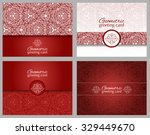 set of red greeting cards or... | Shutterstock .eps vector #329449670