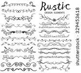 set of hand drawn doodle design ... | Shutterstock .eps vector #329453618