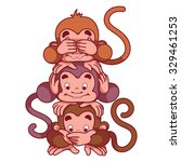 three wise monkeys. symbol of... | Shutterstock .eps vector #329461253