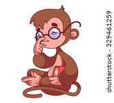 monkey in glasses with book in... | Shutterstock .eps vector #329461259