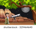 girl looking at stars and moon... | Shutterstock .eps vector #329464640