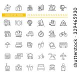 set of line icon concept travel.... | Shutterstock .eps vector #329465930