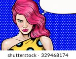 Pink Head  Angry Girl  Pop Art...