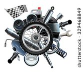 vector motorcycle spares with... | Shutterstock .eps vector #329468849