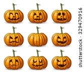 vector set of nine halloween... | Shutterstock .eps vector #329470916