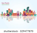 sao paulo detailed skyline.... | Shutterstock .eps vector #329477870