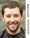 adult man face close up wearing ... | Shutterstock . vector #329479508