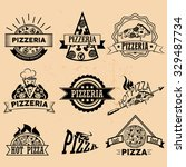 vector set of pizza labels and... | Shutterstock .eps vector #329487734