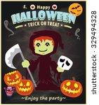 vintage halloween poster design | Shutterstock .eps vector #329494328