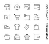 shopping icons set  thin line ... | Shutterstock .eps vector #329498420