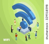 wifi connected concept in 3d... | Shutterstock .eps vector #329518598