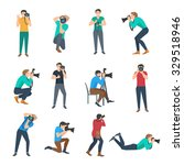 male photographer full lenght... | Shutterstock .eps vector #329518946