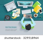 designer workplace flat with... | Shutterstock .eps vector #329518964