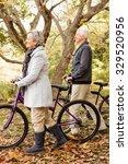 senior couple in the park on an ... | Shutterstock . vector #329520956