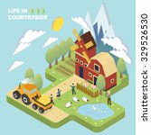 life in countryside concept in... | Shutterstock . vector #329526530