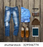 clothes and accessories on... | Shutterstock . vector #329546774