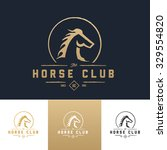 Stock vector horse club luxury vintage logo template 329554820