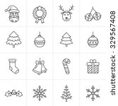 christmas icon set. simple... | Shutterstock .eps vector #329567408