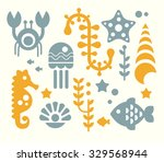 Sea Animals And Plants  Set Of...