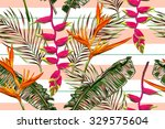 Tropical Flowers  Palm Leaves ...