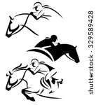 female rider   jumping horse... | Shutterstock .eps vector #329589428