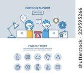 customer support website hero... | Shutterstock .eps vector #329595266