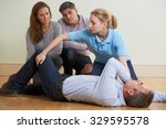 woman demonstrating recovery... | Shutterstock . vector #329595578