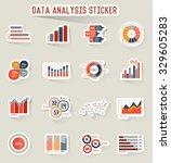 data analysis icons sticker... | Shutterstock .eps vector #329605283