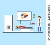 doctor scanning patient brain ... | Shutterstock .eps vector #329608598