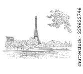vector city sketching on white... | Shutterstock .eps vector #329622746