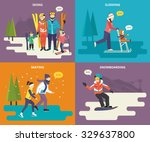 family with kids concept flat... | Shutterstock .eps vector #329637800