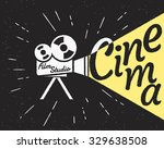 movie projector with yellow... | Shutterstock .eps vector #329638508