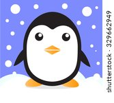 cute penguin in snow vector | Shutterstock .eps vector #329662949