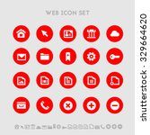 web flat design icons  on red...