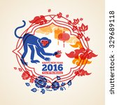 chinese 2016 new year creative... | Shutterstock .eps vector #329689118