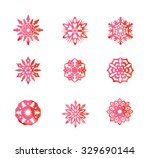 beautiful colorful snowflake set | Shutterstock .eps vector #329690144