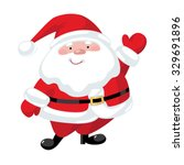 santa claus with a raised right ... | Shutterstock .eps vector #329691896
