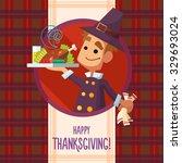 flat vector card with cartoon... | Shutterstock .eps vector #329693024