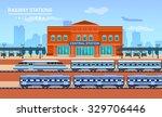 railway station  vector flat...   Shutterstock .eps vector #329706446
