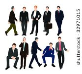 set of men in suits   vector   Shutterstock .eps vector #32971015