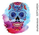 vector skull color illustration ... | Shutterstock .eps vector #329714024