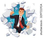 business man breaking through... | Shutterstock .eps vector #329721914