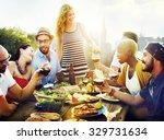 diverse people friends hanging... | Shutterstock . vector #329731634