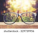 hipster glasses on a park... | Shutterstock . vector #329739956