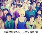 multi ethnic crowd teamwork... | Shutterstock . vector #329740670