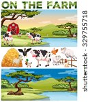 farm theme with farm animals... | Shutterstock .eps vector #329755718