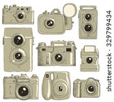 different cameras hand drawn in ... | Shutterstock .eps vector #329799434