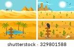desert landscape banners set