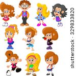 collection of happy children | Shutterstock .eps vector #329833820